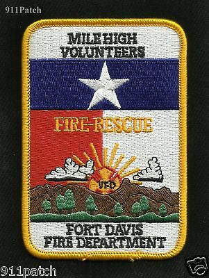 FORT DAVIS, TX Fire Rescue FIREFIGHTER PATCH Fire Department MILE HIGH VOLUNTEER