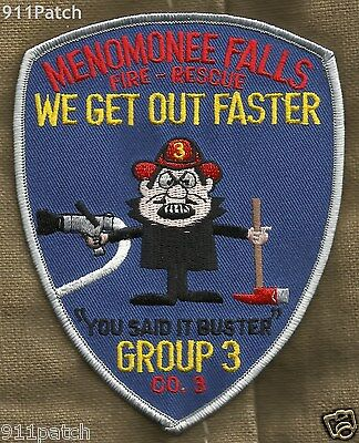 MENOMONEE FALLS, WI - Fire Rescue Group 3 Company 3 FIREFIGHTER PATCH Fire Dept