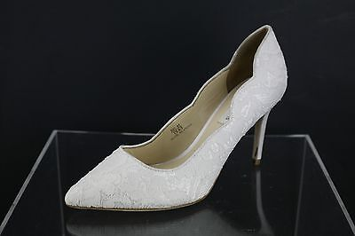 Benjamin Adams London Diana White Wedding Pumps Sz 37 US 6.5 M NEW MSRP $ 220