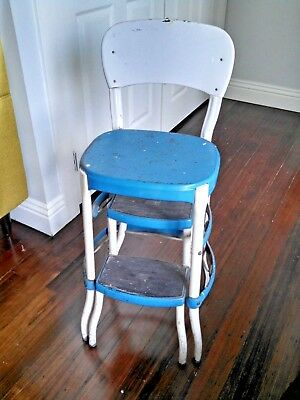 Phenomenal Vintage Blue And White 1950S Cosco Step Stool Chair With Creativecarmelina Interior Chair Design Creativecarmelinacom