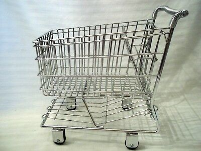 Childs Toy Baby Doll Shopping Chrome Grocery Cart