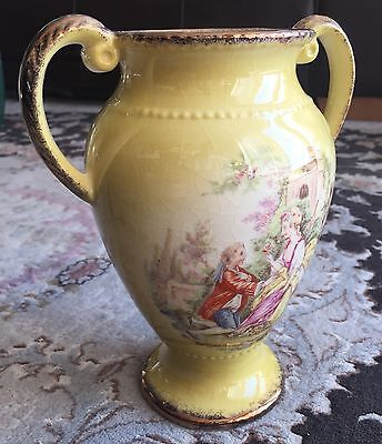 Vintage 1950s Gold Gilded Double Handled Oldcourt Ware English Porcelain Vase