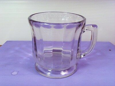 Vintage CLEAR DEPRESSION GLASS COFFEE MUG/CUP~holds over 1 cup~sturdy and strong