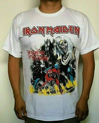 IRON MAIDEN NUMBER OF THE BEAST  WHITE MEN's T SHIRT