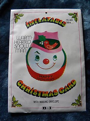Vintage 1971 Inflatable Christmas Card~Warm-Hearted Snowman~by Dan-Dee Imports