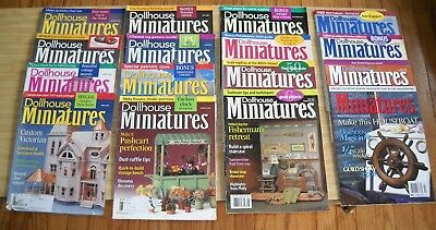 Lot of 16 Vintage Dollhouse Miniatures Magazines from 2002, 2003, 2004, 2005