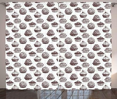 Cupcake Curtains 2 Panel Set Decoration 5 Sizes Window Drapes