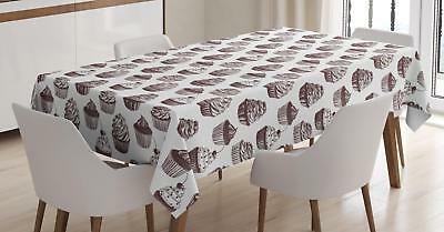 Cupcake Tablecloth Ambesonne 3 Sizes Rectangular Table Cover Decor