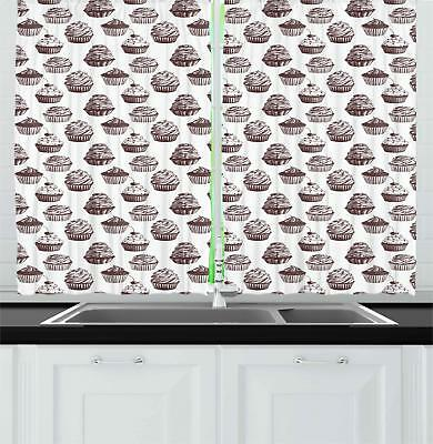 "Cupcake Kitchen Curtains 2 Panel Set Window Drapes 55"" X 39"""