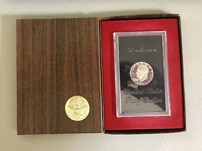 1971 S $1 Silver Proof Ike Dollar Eisenhower Type 2 Coin US Mint Brown Box