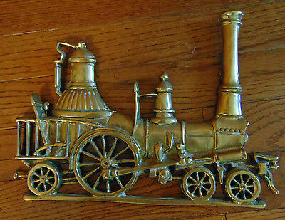 """Brass Train Sign Cast Brass Sign Wall Hanging Decorative Plaque  11""""x8.5"""""""
