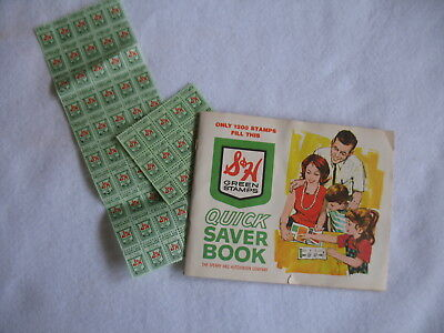 Vintage S&H Green Stamps Saver Book Filled With Stamps -plus bonus extra stamps