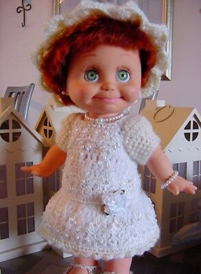 Crochet Cream & White Peal Dress Set  for Galoob Baby Face Doll -By DollDarlings