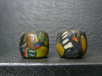 """(dL009)  Tibet:   2 Very Old  glass Beads. """"Picasso beads"""""""