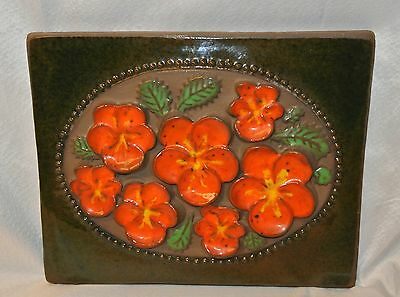 JIE Gantofta Sweden Ceramic Pottery Wall Plaque-3D Floral Relief-Orange Pansies