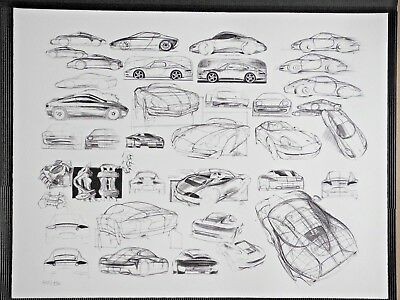 Porsche 911 Collage Factory Limited Edt graphic Poster RARE!!