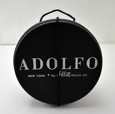 Vintage Adolfo Round Wig Small Hat Box - Black Textured Plastic Box