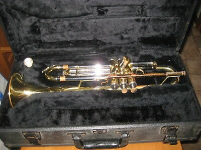 CONN 201By TRUMPET TRI-COLOR w/ CASE  MISSING BUTTON AS IS