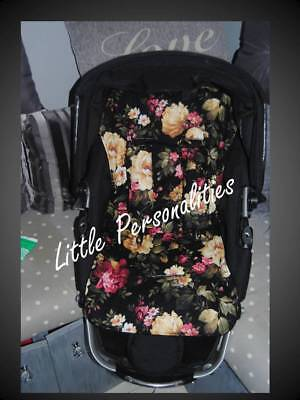 black pink cream green rose flower stay put universal pram buggy liner and pads