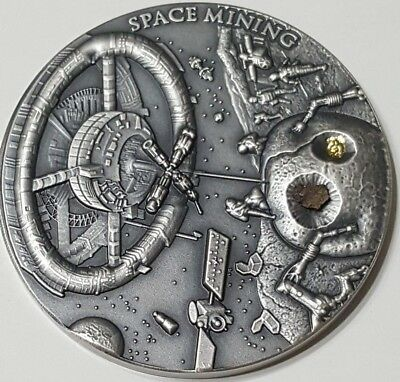 2018 Niue $1 SPACE MINING Chondrite Meteorite 1 Oz Silver Coin.  ON HANDS.