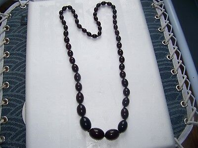 Vintage Cherry Amber Faturan Large Prayer Bead Neclace W/ Gold flake 86 grams