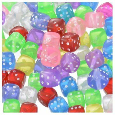 100x Mixed Transparent Acrylic Dice Spacer Beads 8*8mm Y8M5