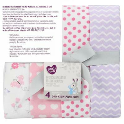 Parent's Choice Receiving Blankets, Pink Assorted Variety, 4 Pack