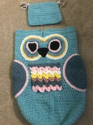 Hand Crocheted Owl Baby Bunting Cocoon 2699 Picclick