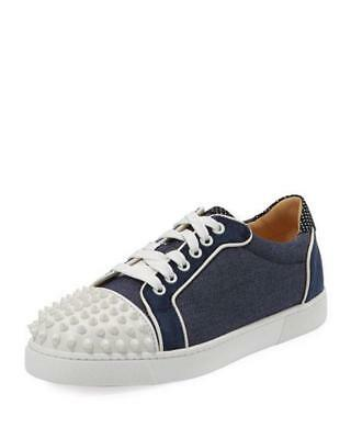 new products 302fa c0bef CHRISTIAN LOUBOUTIN VIEIRA Spikes Studded Denim Leather Sneakers Flat Shoes  $895
