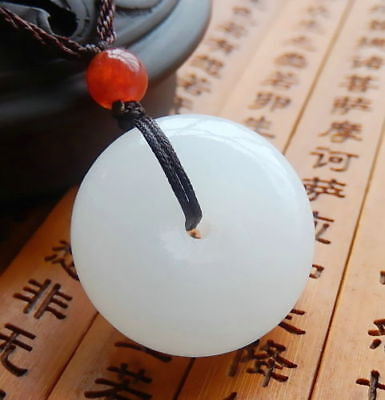 Chinese natural hand-carved Afghanistan white jade pingan buckle pendant necklac