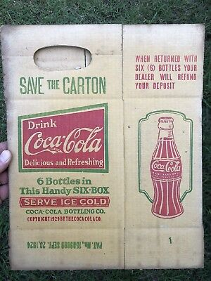RARE 1920s Coca Cola Sign 6 Pack Cardboard Carton Early Advertising