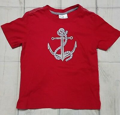Hanna Andersson Boys Red Anchor Graphic Short Sleeve Shirt Sz. 120 Us 6-7