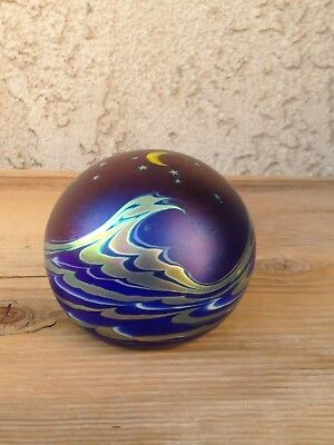 """Lundberg Studios 1990 Art Glass Night Sky over Waves Paperweight Signed 2"""".5"""