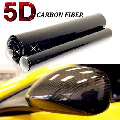 5D Glossy Carbon Fiber Vinyl Car Wrap Sheet Roll Film Sticker Decals 127x30cm