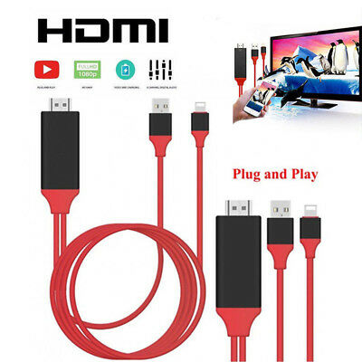 iPhone X 8 7 Screen To TV Cable HDMI 1080p IOS Adapter USB Charger Converter AU
