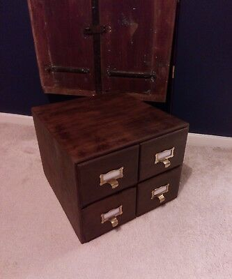 Vintage 4 Draw Wood Wooden Oak Filing Cabinet Box Draws C1930s
