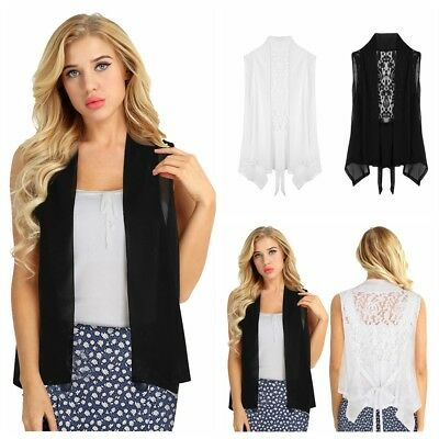 Summer Women's Sleeveless Cardigan Tops T-shirt Blouse Chiffon Lace Vest Jacket