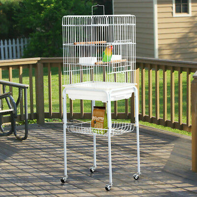 Metal Bird Cage Parakeet Finch Budgie Lovebird Pet Rolling Cage with Stand Perch