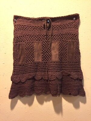 Short Skirt Leather Suede Crochet With Drawstring Waist