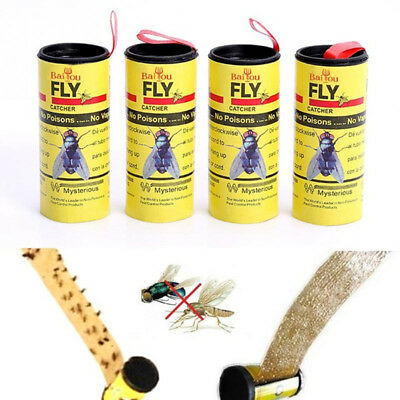 4 Rolls Insect Bug Fly Glue Paper Catcher Trap Ribbon Tape Strip Sticky Flies ER