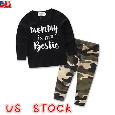 Toddler Kids Baby Boys Long Sleeve Tops T-shirt Camo Pants 2PCS Outfits Clothes