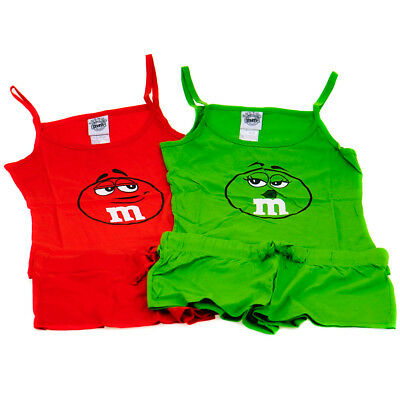 Girls Summer Pyjamas Red or Green 11 to 16 years M&M's Novelty Clothing