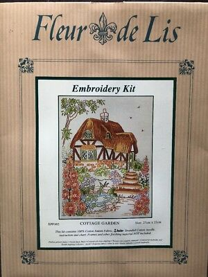 Fleur De Lis Embroidery Kit - Cottage Garden