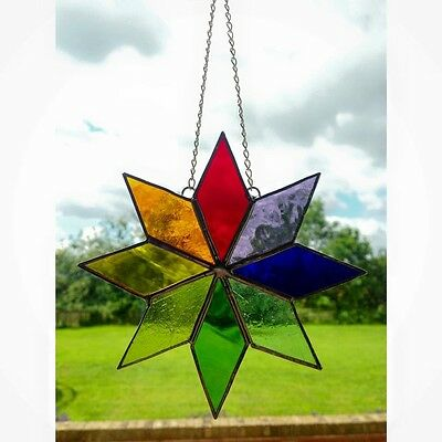 Handmade Stained Glass Star Suncatcher Tiffany Glass Multi Coloured, Gift