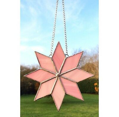 Handmade Stained Glass Star Sun-catcher, Pink Glass Decoration