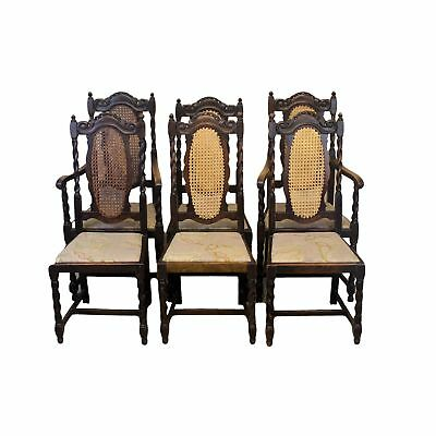 Set of Six Antique Oak Dining Chairs with Reeded and Barley Twist Backs