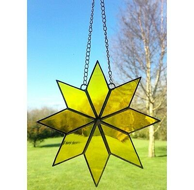 Handmade Stained Glass Star Suncatcher, Yellow Glass Gift Decoration