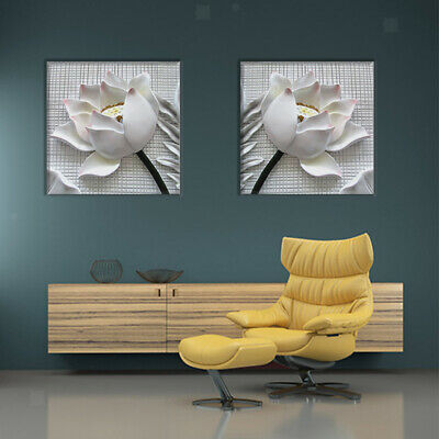 2x White Rose Flower Wall Art Pictures Canvas Painting Prints Artwork Decor