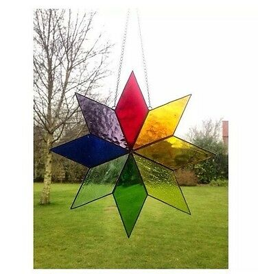 Handmade Stained Glass Large Star Sun catcher Tiffany Glass Multi Coloured, Gift