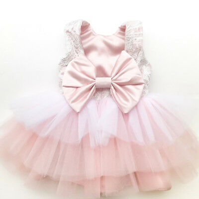 AU Kid Baby Floral Girl Tulle Tutu Dress Wedding Bridesmaid Princess Party Dress